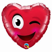 Ballon coeur rouge Smiley clin d'oeil