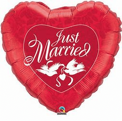 ballon coeur rouge just married