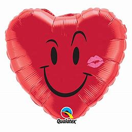 Ballon coeur rouge smiley