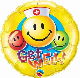 Ballon rond jaune smiley Get Well