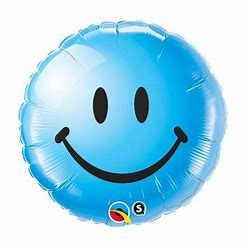 Ballon rond bleu smiley